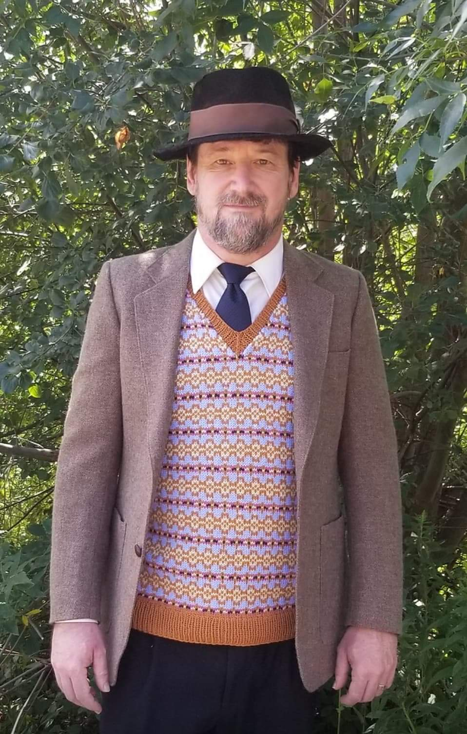 My husband modelling the vest